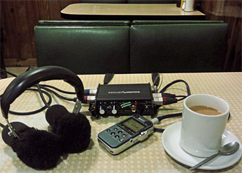 Photo of recording equipment on a cafe table
