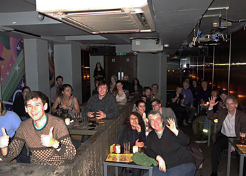 Happy-looking audience at a talk in The Social, central London