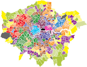 Map of London showing council wards sorted into 12 colour-coded groups