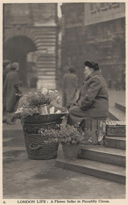 Agnes Pegg, flower seller, at Piccadilly Circus