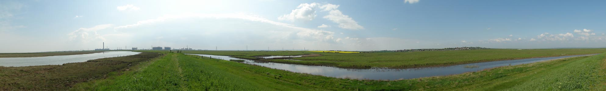 Panoramic view of the Allhallows Marshes facing Grain