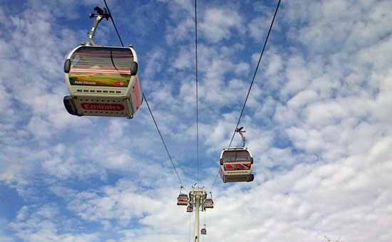 Picture of cable cars at North Greenwich