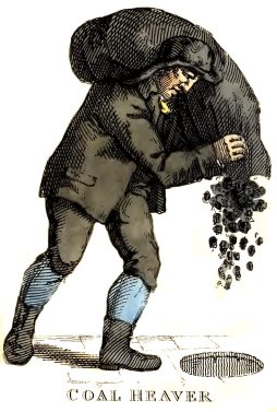 19th century illustration of a coalman at work