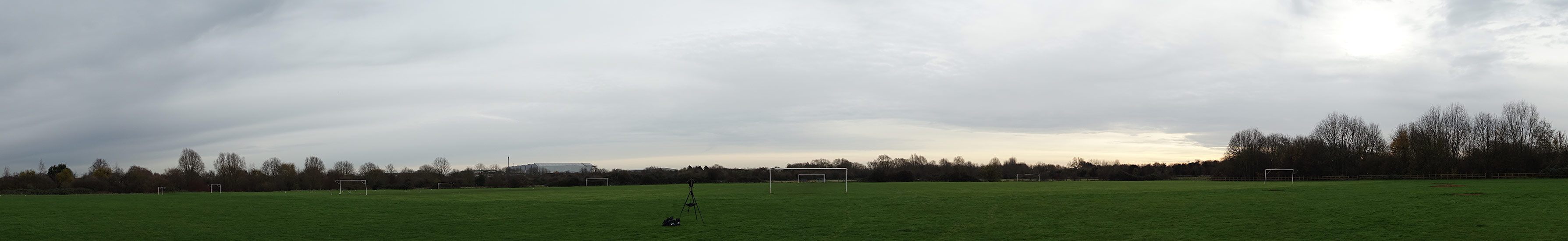 Panoramic view of Coldhams Common, Cambridge