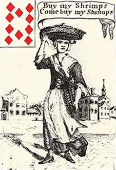 18th-century playing card depicting a street trader