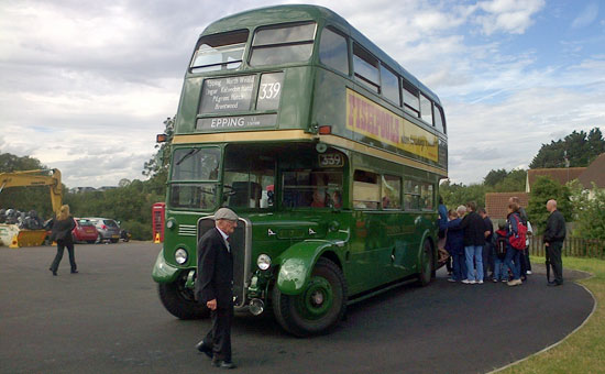 Vintage double-decker bus at North Weald