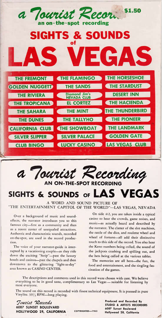 Front ans back sleeve covers of early 1960s Las Vegas souvenir EP