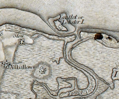 Yantlet or Lobster Island on the Ordnance Survey First Series