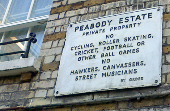 Peabody Estate sign forbidding various noisy activities