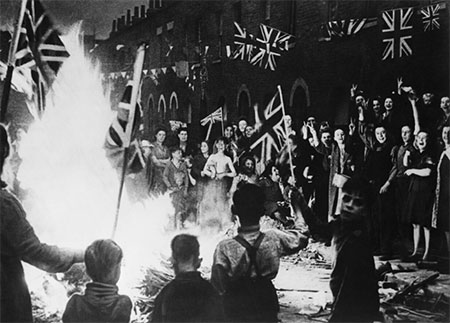 VE Day bonfire in London