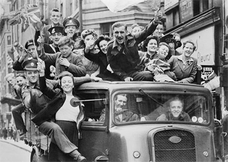 VE Day celebrated in the Strand, London