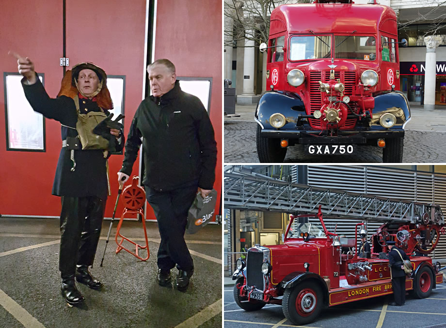 Montage of photos showing fire engines and re-enactors outside Dowgate fire station.