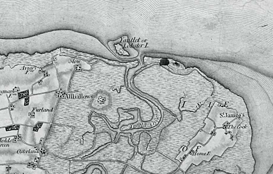 1805 Ordnance Survey First Series map showing Allhallows Marshes.