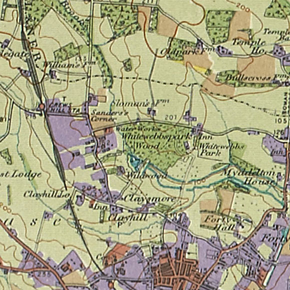 London map 1930s Land Utilisation Survey for Crows Hill, Clay Hill
