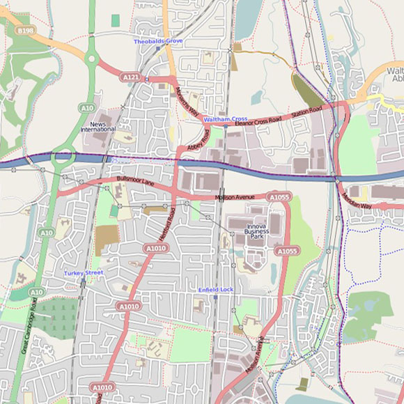 London map OpenStreetMap for Turkey Street, Enfield Lock