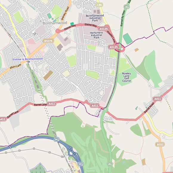 London map OpenStreetMap for Scratchwood, Barnet Gate