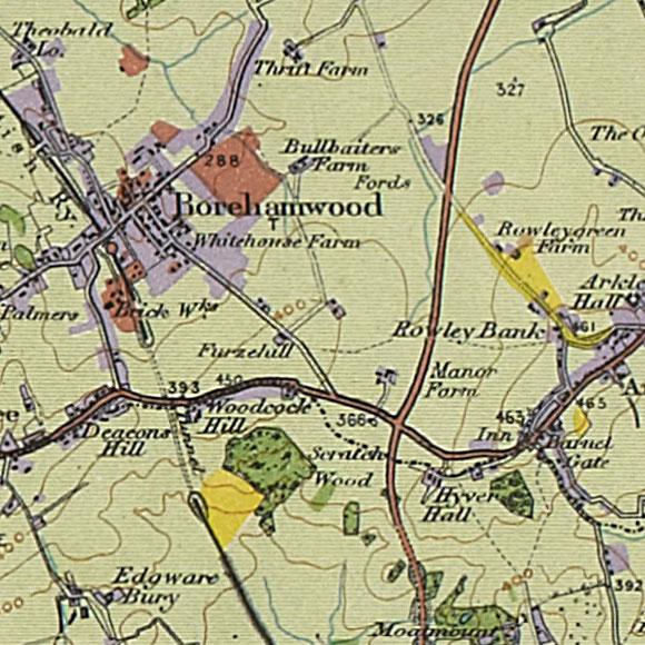 London map 1930s Land Utilisation Survey for Scratchwood, Barnet Gate