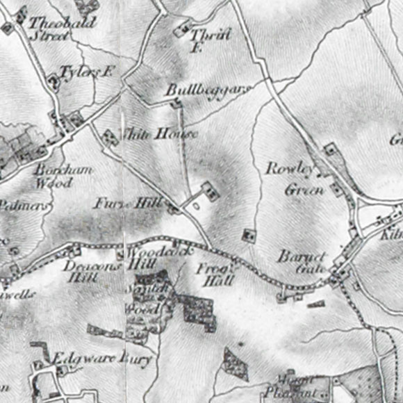 Ordnance Survey First Series map for Scratchwood, Barnet Gate