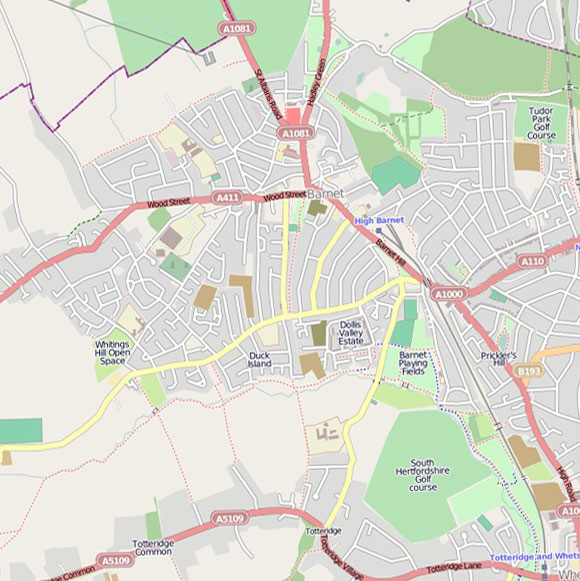 London map OpenStreetMap for Barnet, Totteridge