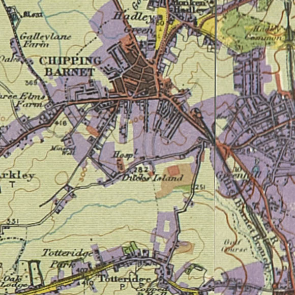 London map 1930s Land Utilisation Survey for Barnet, Totteridge