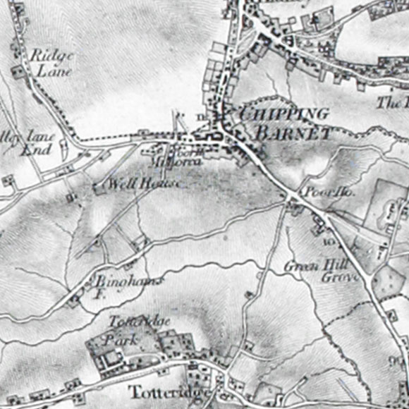 Ordnance Survey First Series map for Barnet, Totteridge