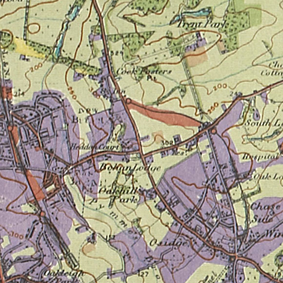 London map 1930s Land Utilisation Survey for Oakwood, Cockfosters