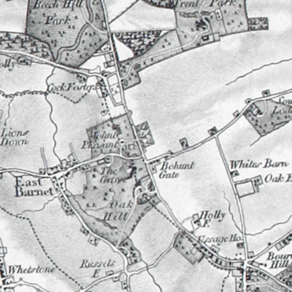 Ordnance Survey First Series map for Oakwood, Cockfosters