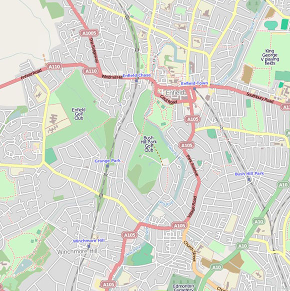 London map OpenStreetMap for Winchmore Hill, Enfield