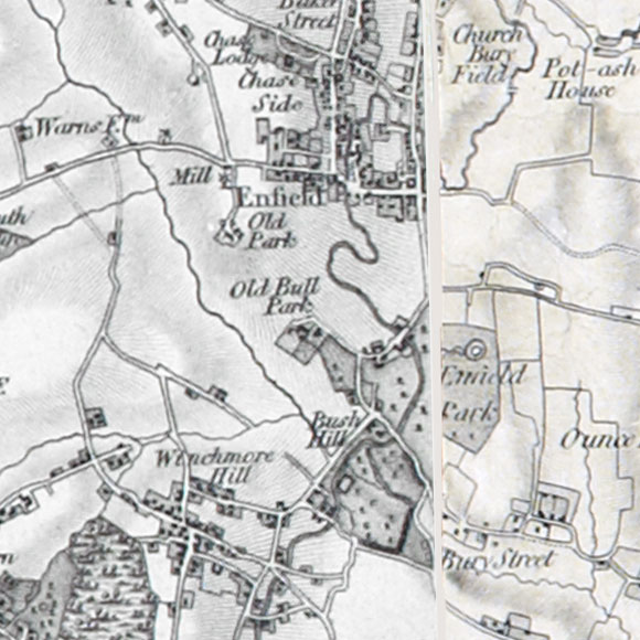 Ordnance Survey First Series map for Winchmore Hill, Enfield