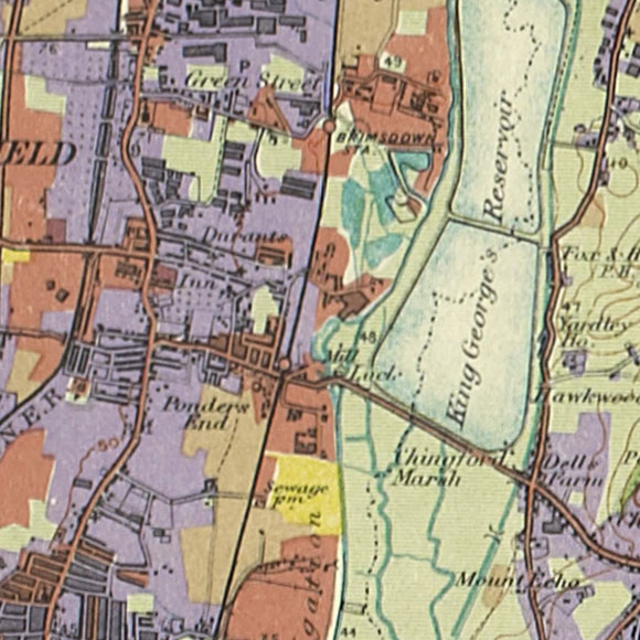 London map 1930s Land Utilisation Survey for Ponders End, North Chingford