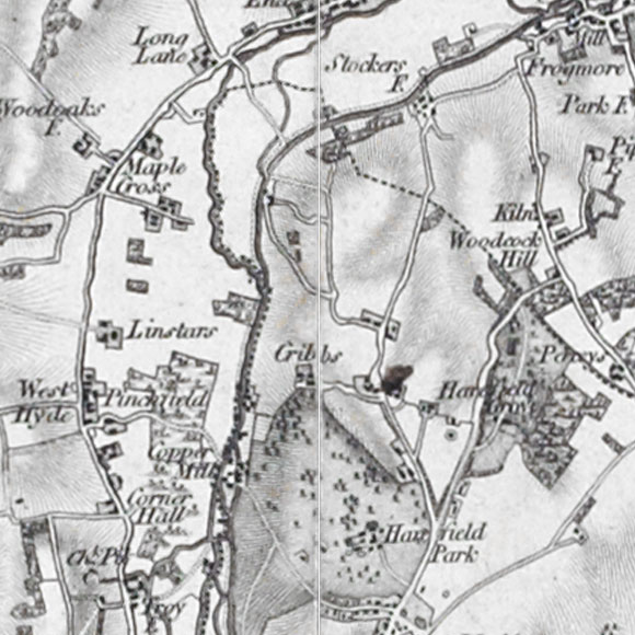 Ordnance Survey First Series map for Hill End, Mount Pleasant