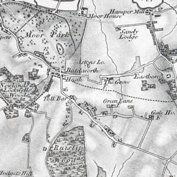 Ordnance Survey First Series map for Ducks Hill, Northwood