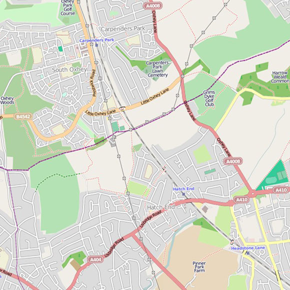 London map OpenStreetMap for Pinnerwood Park, Hatch End