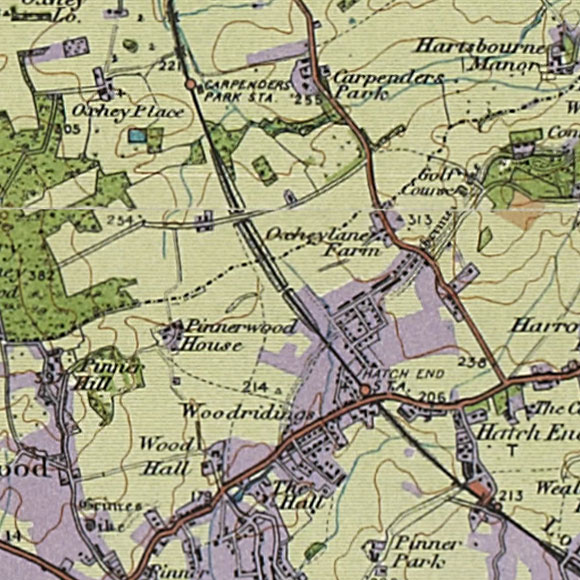 London map 1930s Land Utilisation Survey for Pinnerwood Park, Hatch End