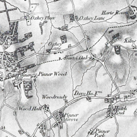 Ordnance Survey First Series map for Pinnerwood Park, Hatch End