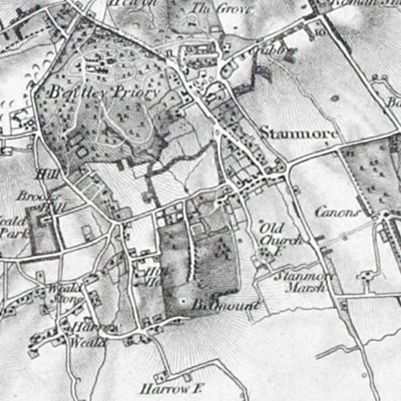 Ordnance Survey First Series map for Stanmore, Canons Park