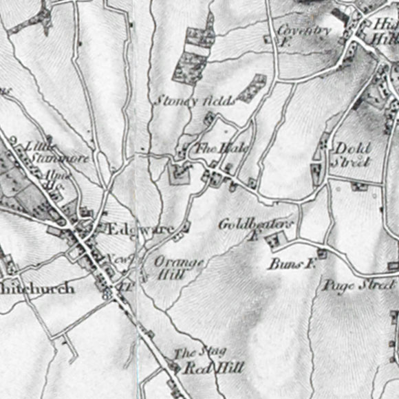 Ordnance Survey First Series map for Edgware, Mill Hill