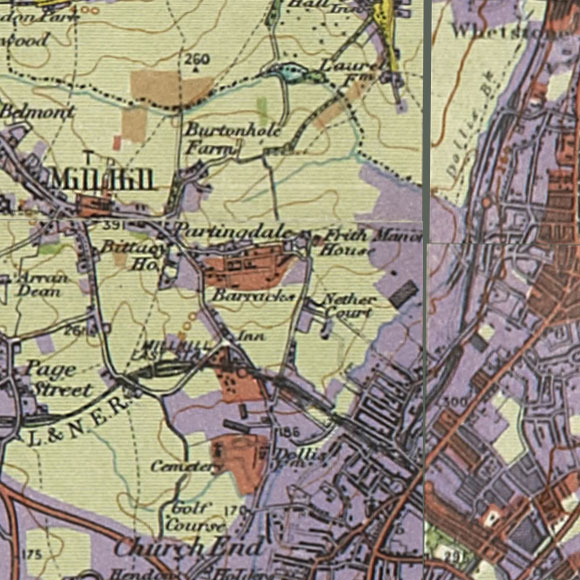 London map 1930s Land Utilisation Survey for Mill Hill, Finchley