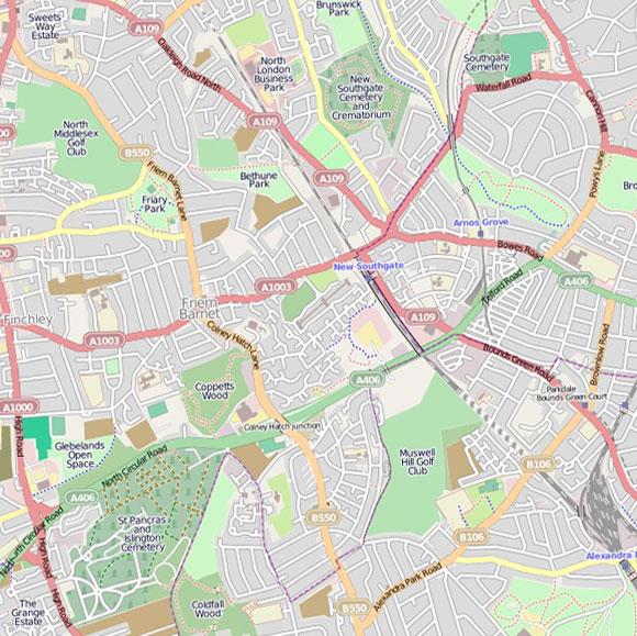 London map OpenStreetMap for Friern Barnet, Bounds Green
