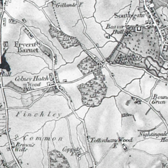 Ordnance Survey First Series map for Friern Barnet, Bounds Green