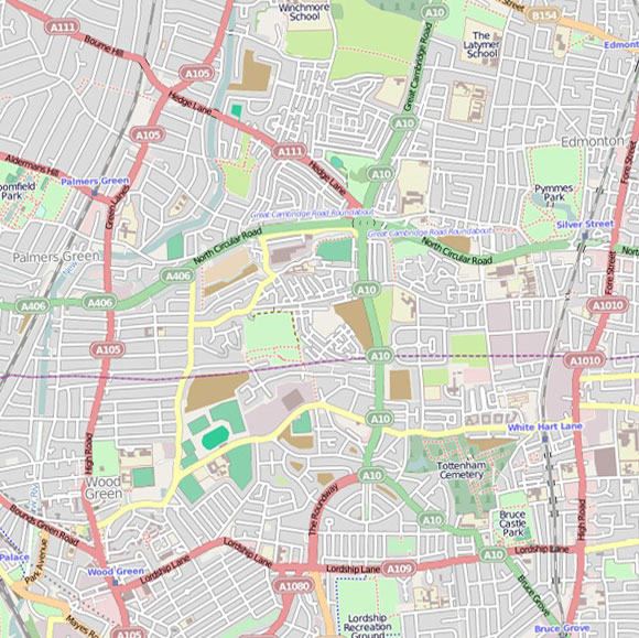 London map OpenStreetMap for Palmers Green, Edmonton, Tottenham