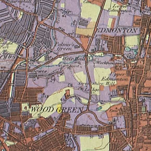 London map 1930s Land Utilisation Survey for Palmers Green, Edmonton, Tottenham