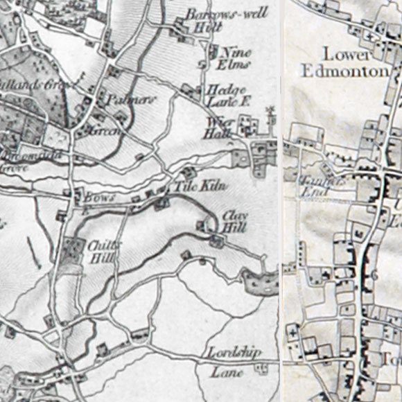 Ordnance Survey First Series map for Palmers Green, Edmonton, Tottenham