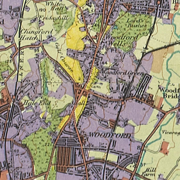 London map 1930s Land Utilisation Survey for Hale End, Woodford