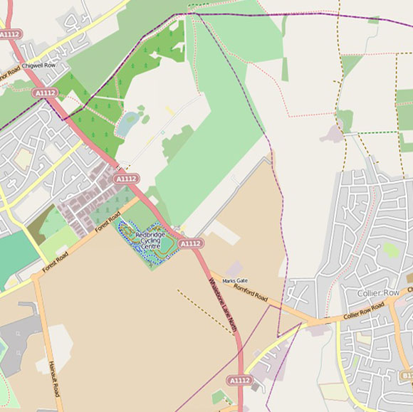 London map OpenStreetMap for Hainault, Collier Row