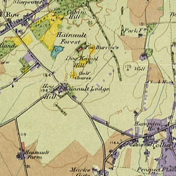 London map 1930s Land Utilisation Survey for Hainault, Collier Row