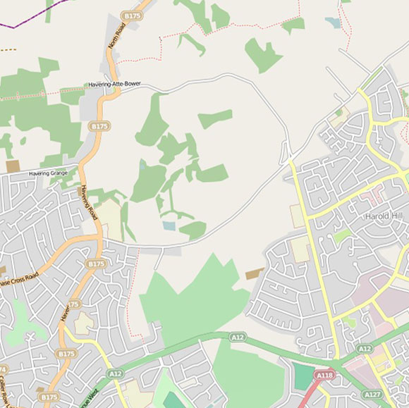 London map OpenStreetMap for Havering-atte-Bower, Gallows Corner