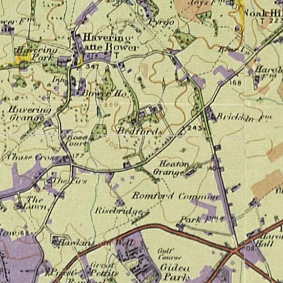 London map 1930s Land Utilisation Survey for Havering-atte-Bower, Gallows Corner