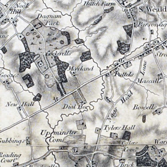 Ordnance Survey First Series map for Harold Hill, Brook Street