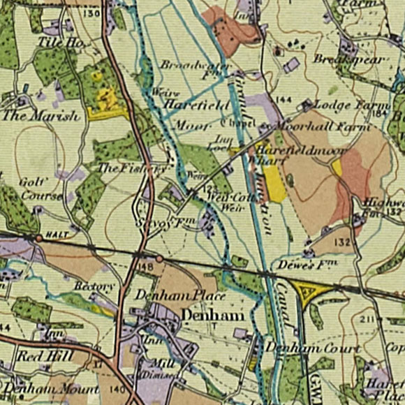 London map 1930s Land Utilisation Survey for South Harefield